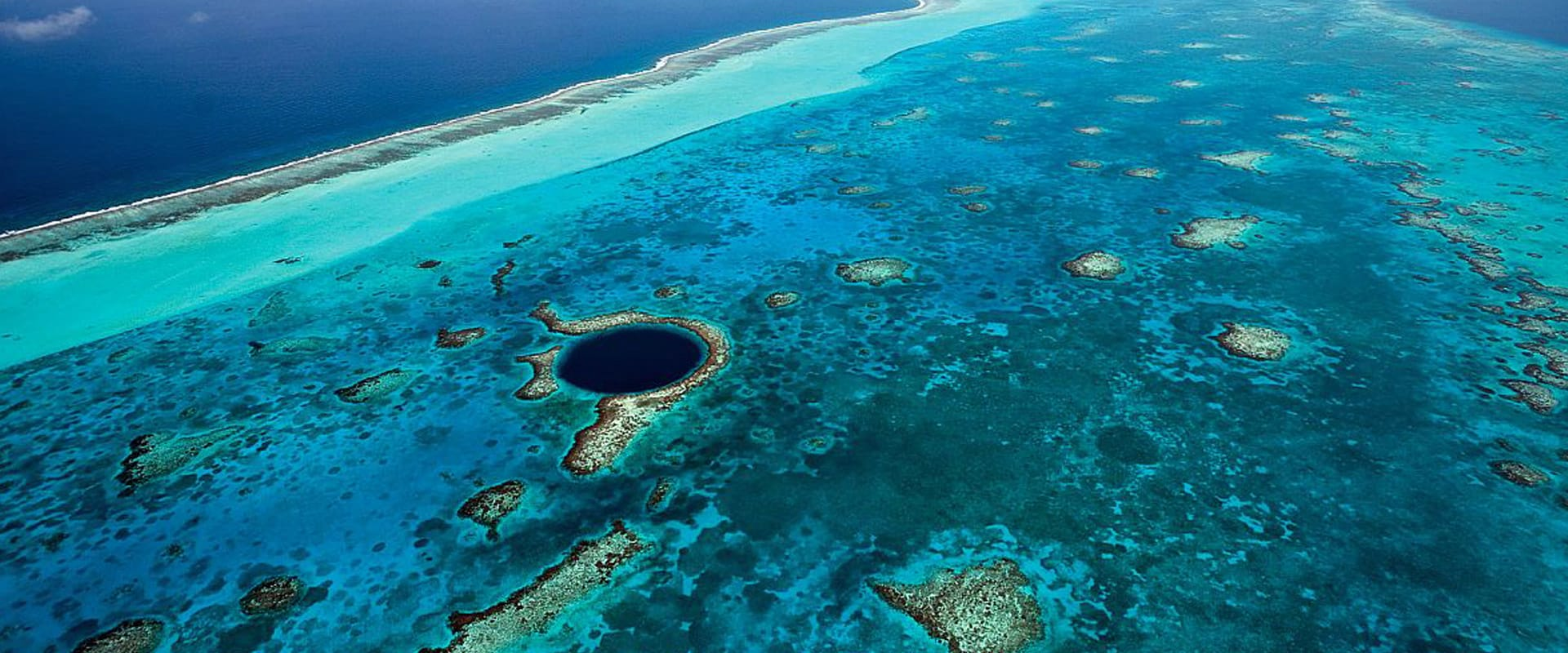 Aerial over Belize's Great Blue Hole