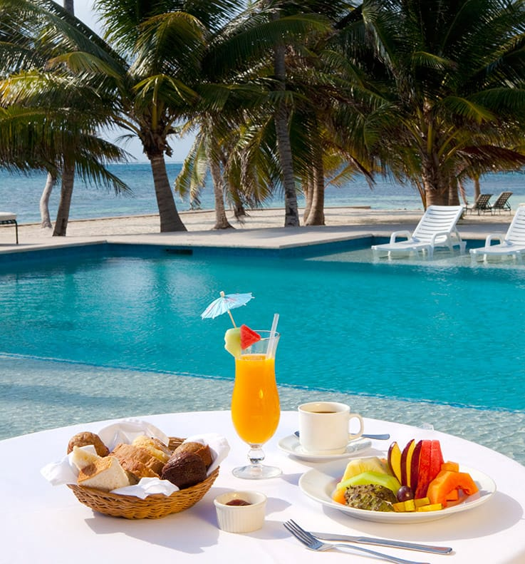 Breakfast served poolside at Victoria House Resort and Spa, Belize