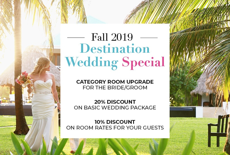 Bride at Victoria House Resort and Spa with Fall 2019 Destination Wedding Special text