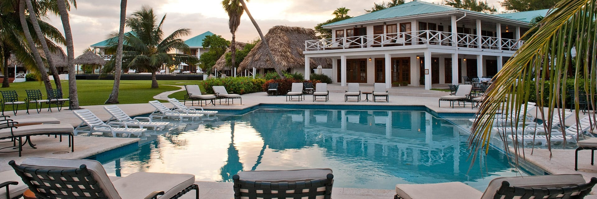 Beach front pool at Victoria House Resort and Spa, Belize